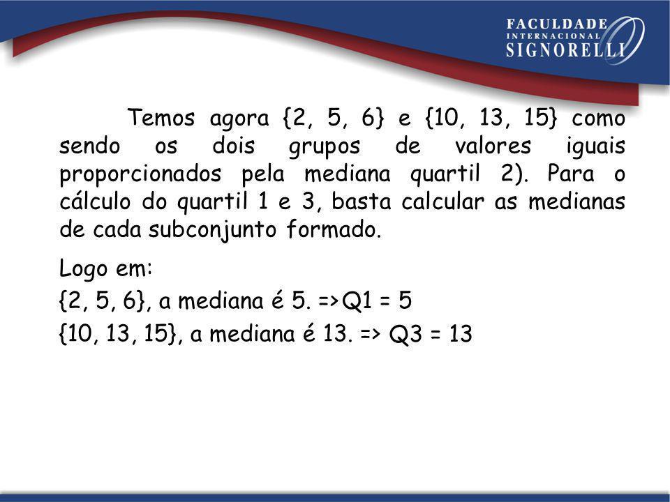 Temos agora {2, 5, 6} e {10, 13, 15} como sendo os dois grupos de valores iguais proporcionados pela mediana quartil 2). Para o cálculo do quartil 1 e