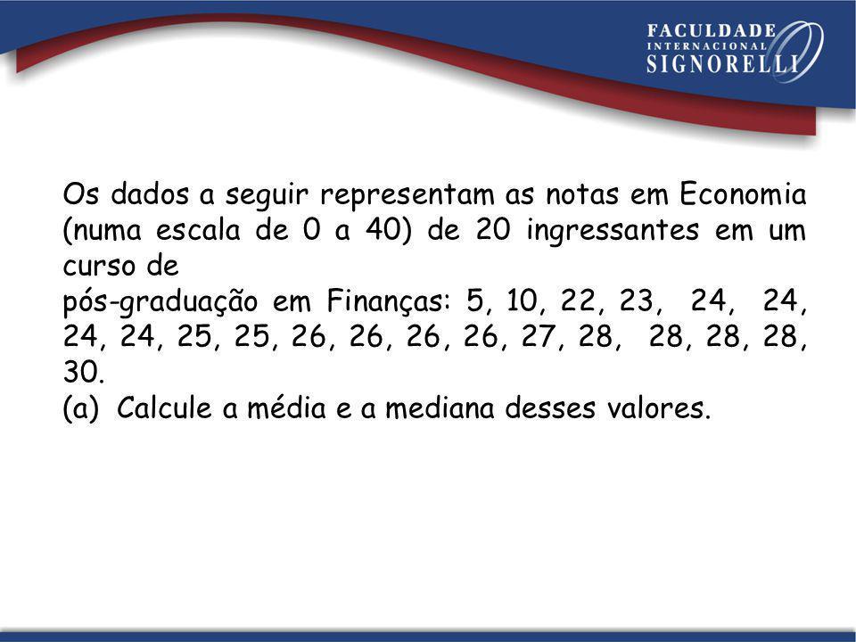Os dados a seguir representam as notas em Economia (numa escala de 0 a 40) de 20 ingressantes em um curso de pós-graduação em Finanças: 5, 10, 22, 23,