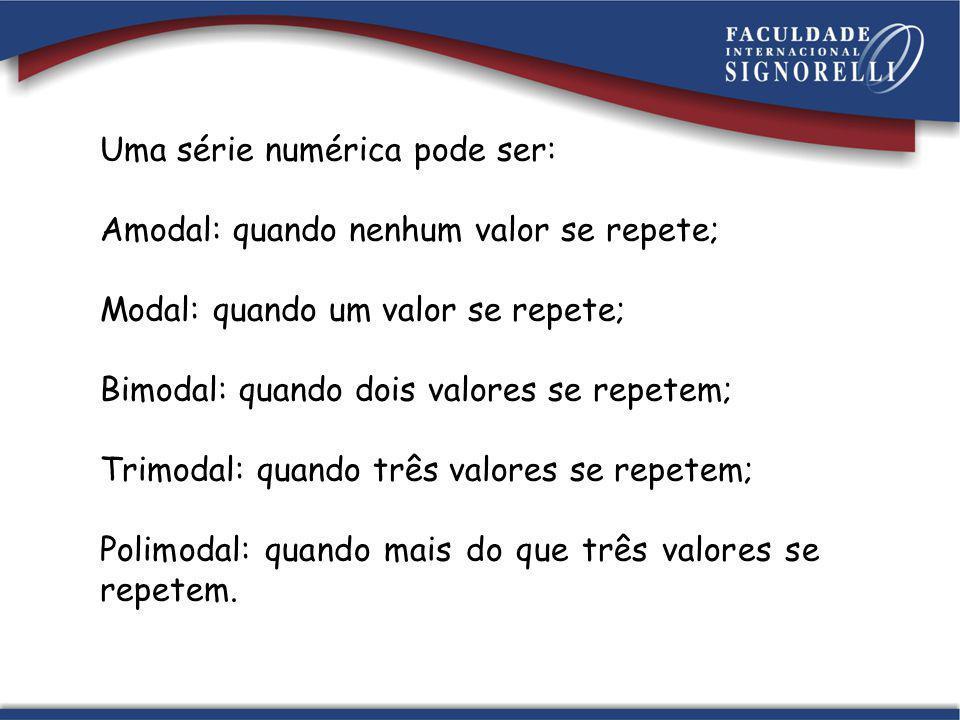 Uma série numérica pode ser: Amodal: quando nenhum valor se repete; Modal: quando um valor se repete; Bimodal: quando dois valores se repetem; Trimoda