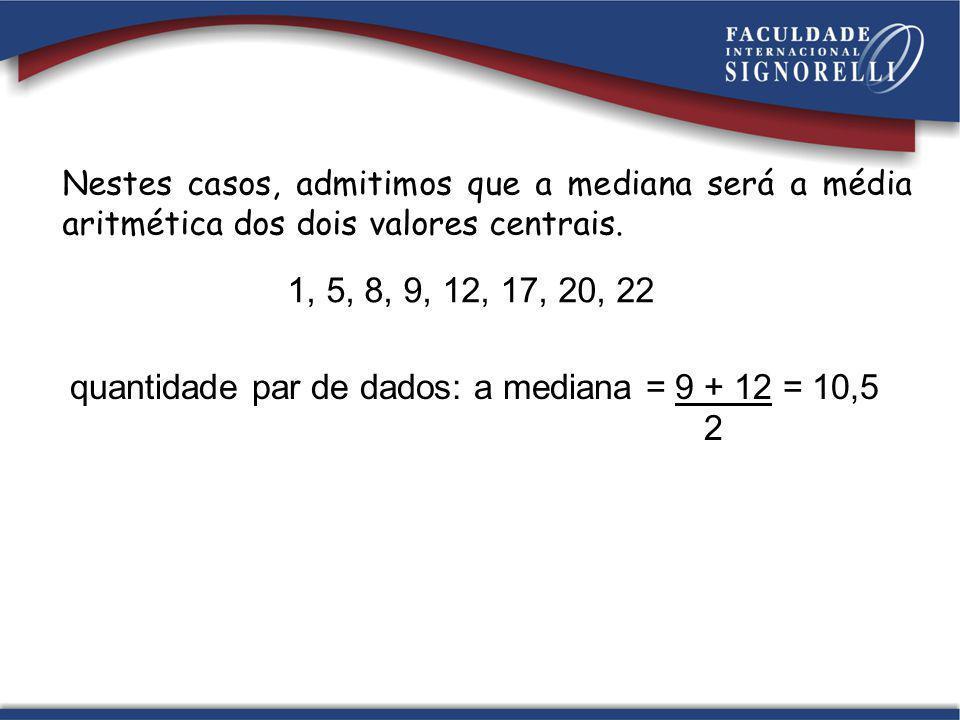 Nestes casos, admitimos que a mediana será a média aritmética dos dois valores centrais. 1, 5, 8, 9, 12, 17, 20, 22 quantidade par de dados: a mediana