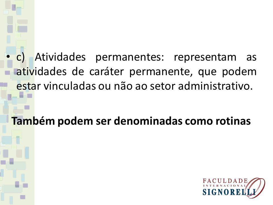 c) Atividades permanentes: representam as atividades de caráter permanente, que podem estar vinculadas ou não ao setor administrativo. Também podem se