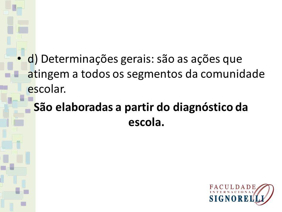d) Determinações gerais: são as ações que atingem a todos os segmentos da comunidade escolar. São elaboradas a partir do diagnóstico da escola.