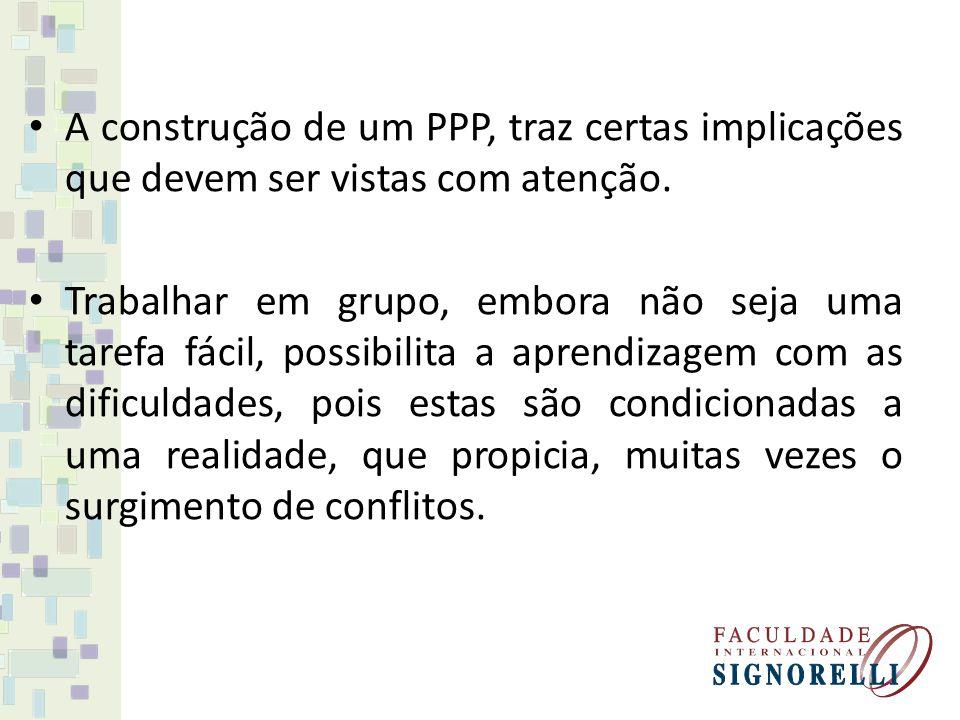 A construção de um PPP, traz certas implicações que devem ser vistas com atenção. Trabalhar em grupo, embora não seja uma tarefa fácil, possibilita a