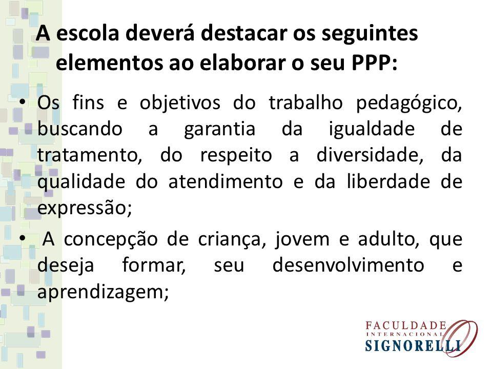 A escola deverá destacar os seguintes elementos ao elaborar o seu PPP: Os fins e objetivos do trabalho pedagógico, buscando a garantia da igualdade de
