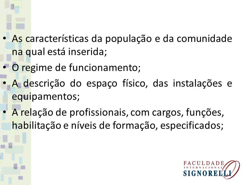 As características da população e da comunidade na qual está inserida; O regime de funcionamento; A descrição do espaço físico, das instalações e equi