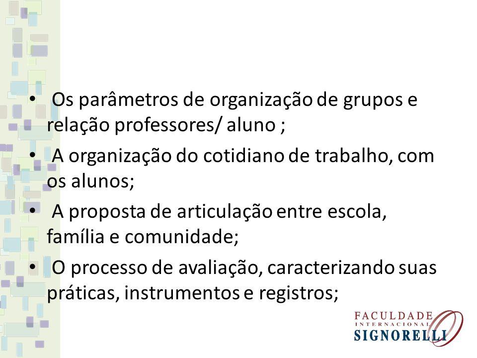 Os parâmetros de organização de grupos e relação professores/ aluno ; A organização do cotidiano de trabalho, com os alunos; A proposta de articulação