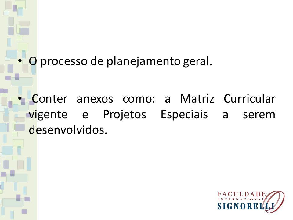 O processo de planejamento geral. Conter anexos como: a Matriz Curricular vigente e Projetos Especiais a serem desenvolvidos.