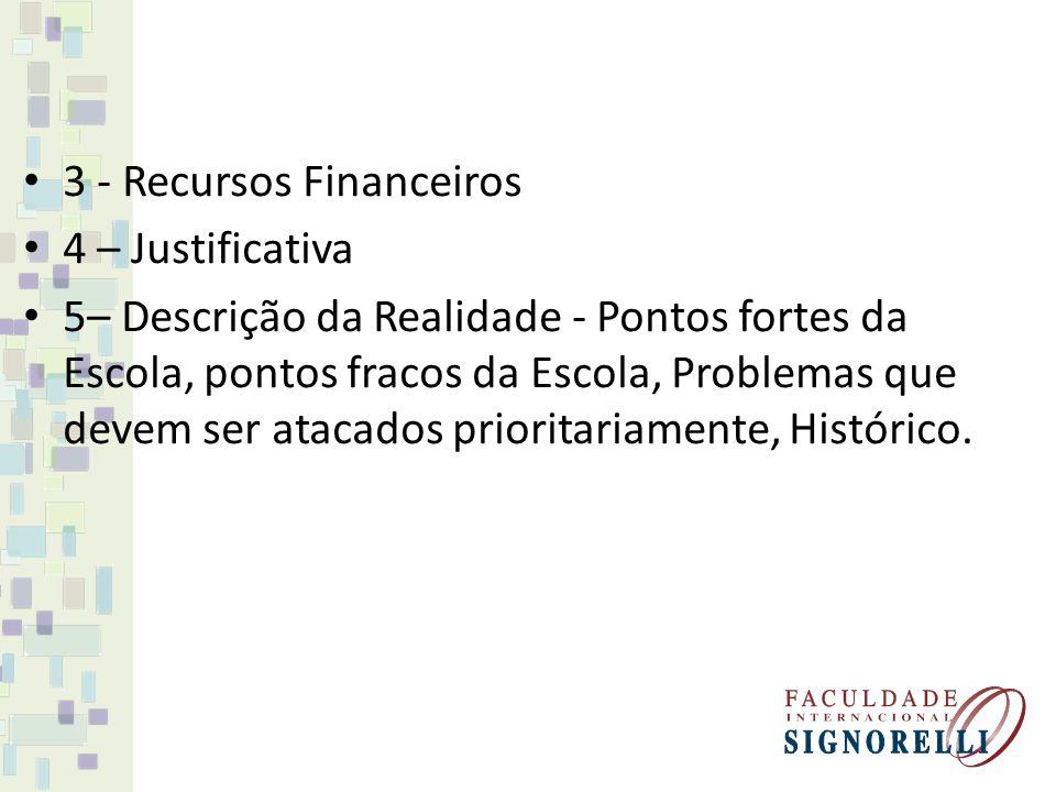 3 - Recursos Financeiros 4 – Justificativa 5– Descrição da Realidade - Pontos fortes da Escola, pontos fracos da Escola, Problemas que devem ser ataca