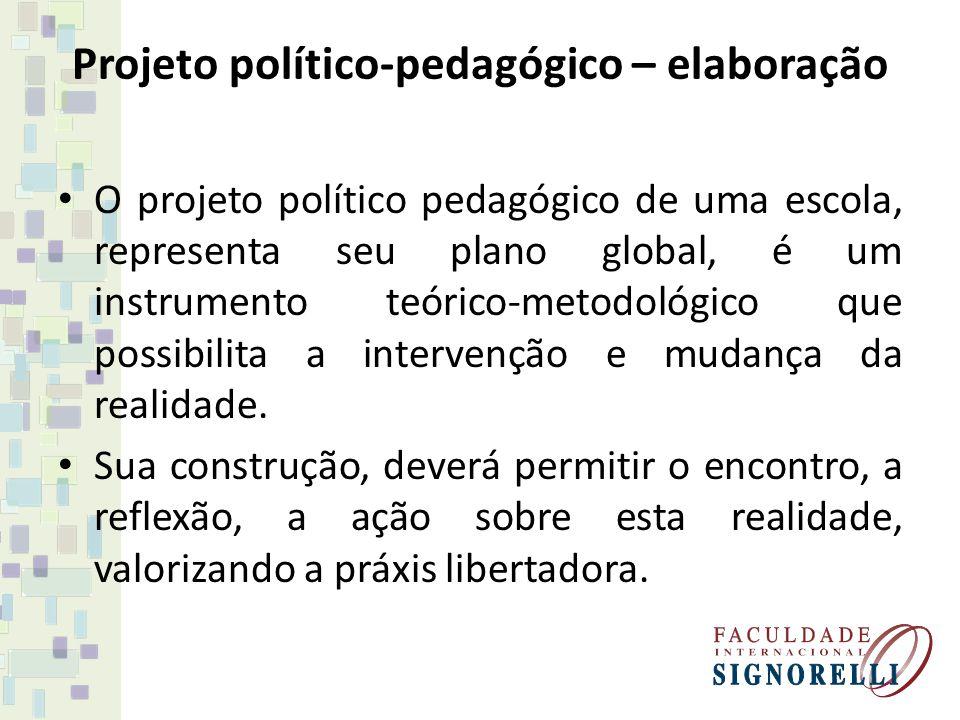 Projeto político-pedagógico – elaboração O projeto político pedagógico de uma escola, representa seu plano global, é um instrumento teórico-metodológi