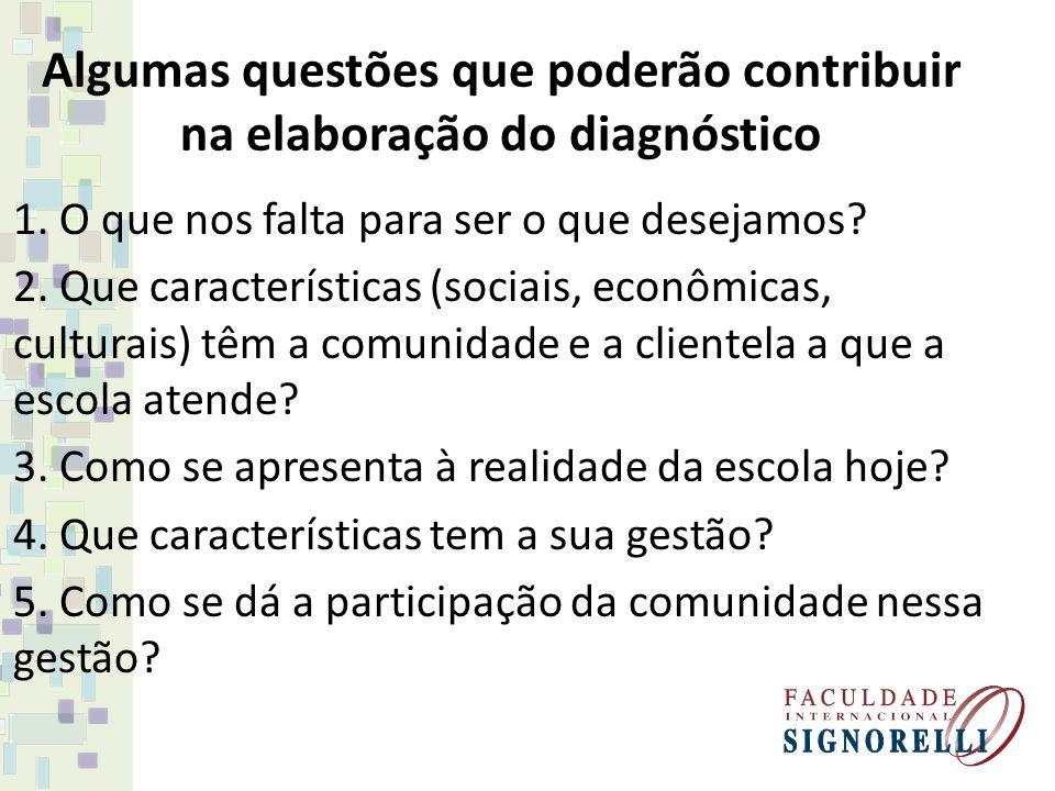 Algumas questões que poderão contribuir na elaboração do diagnóstico 1. O que nos falta para ser o que desejamos? 2. Que características (sociais, eco