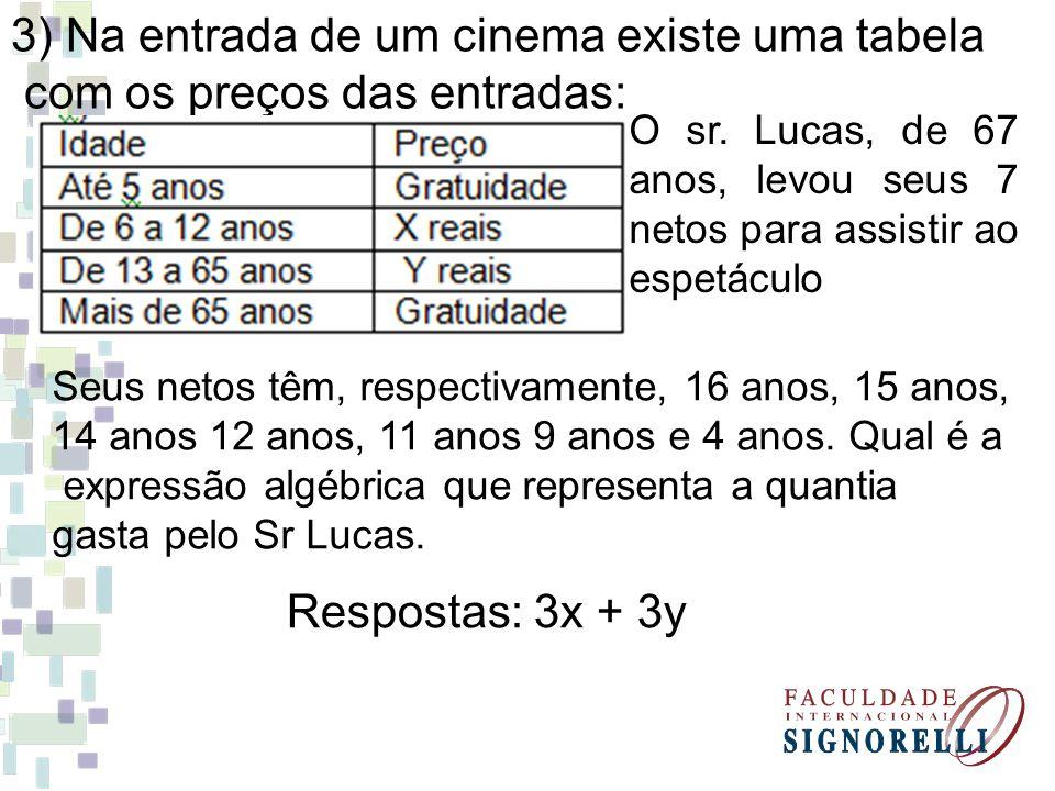 3) Na entrada de um cinema existe uma tabela com os preços das entradas: Seus netos têm, respectivamente, 16 anos, 15 anos, 14 anos 12 anos, 11 anos 9