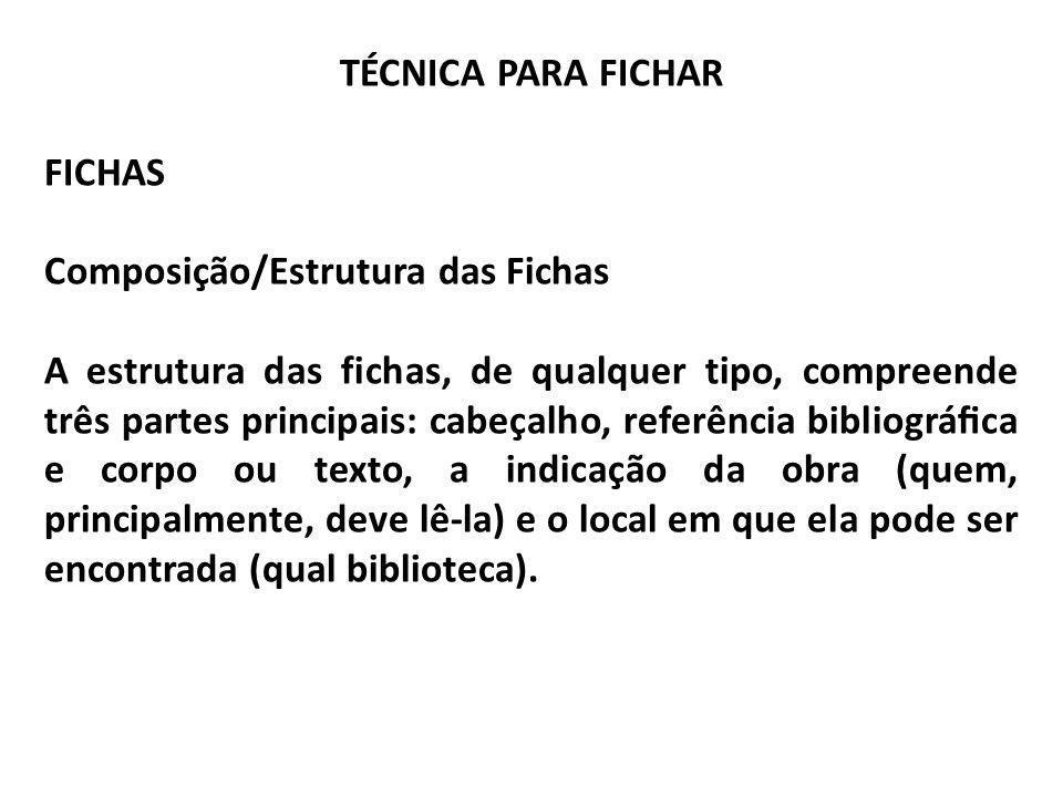 TÉCNICA PARA FICHAR FICHAS Composição/Estrutura das Fichas A estrutura das fichas, de qualquer tipo, compreende três partes principais: cabeçalho, ref