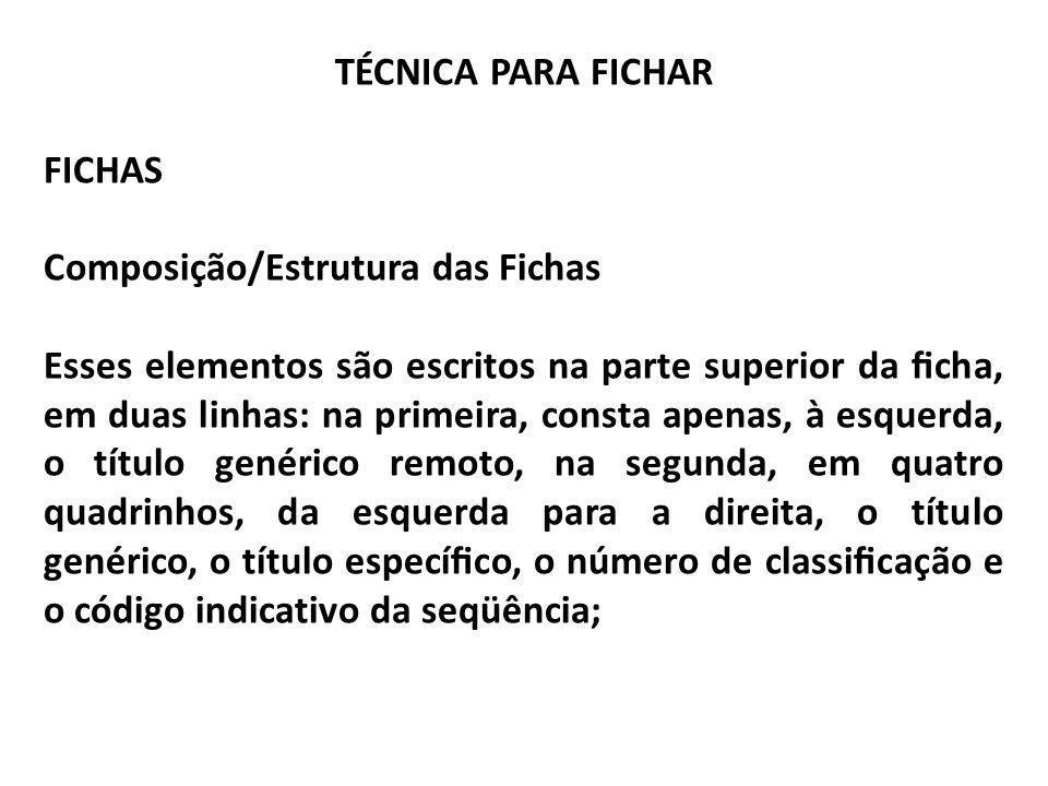 TÉCNICA PARA FICHAR FICHAS Composição/Estrutura das Fichas Esses elementos são escritos na parte superior da cha, em duas linhas: na primeira, consta