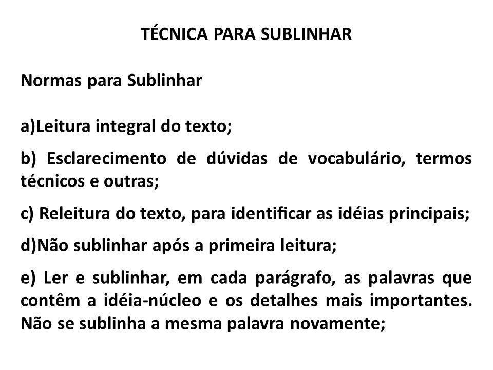 TÉCNICA PARA SUBLINHAR Normas para Sublinhar a)Leitura integral do texto; b) Esclarecimento de dúvidas de vocabulário, termos técnicos e outras; c) Re