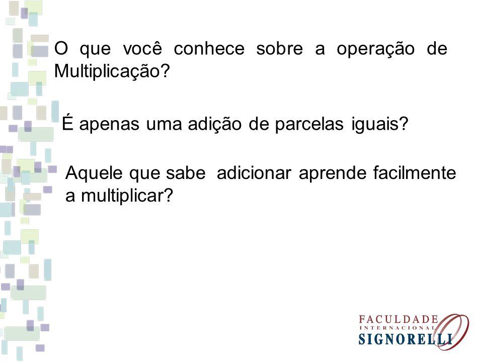 O que você conhece sobre a operação de Multiplicação? É apenas uma adição de parcelas iguais? Aquele que sabe adicionar aprende facilmente a multiplic