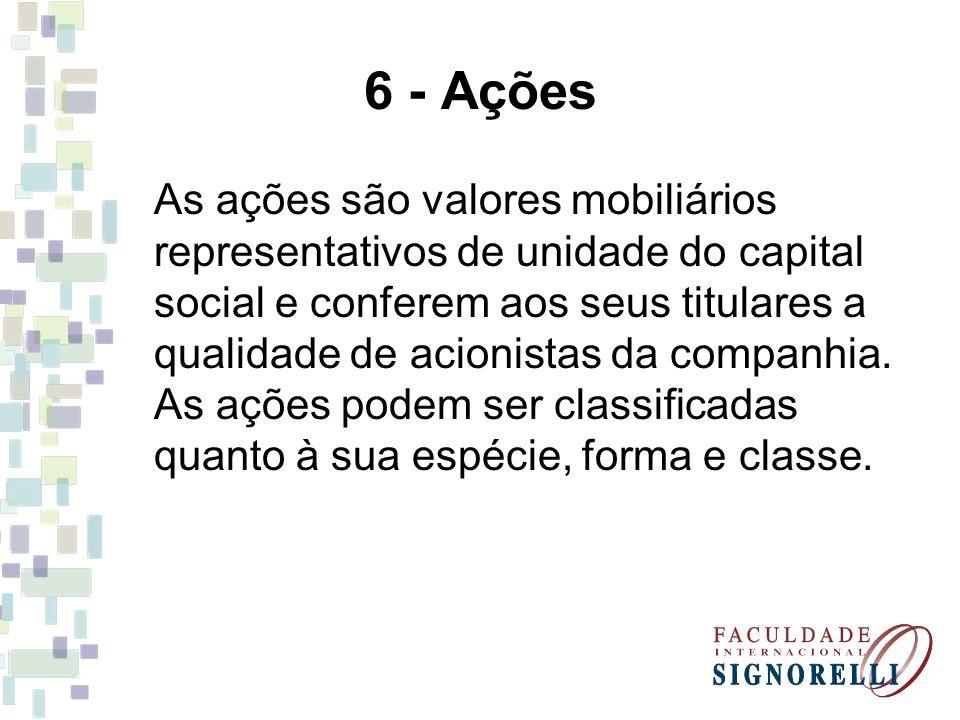 6 - Ações As ações são valores mobiliários representativos de unidade do capital social e conferem aos seus titulares a qualidade de acionistas da com