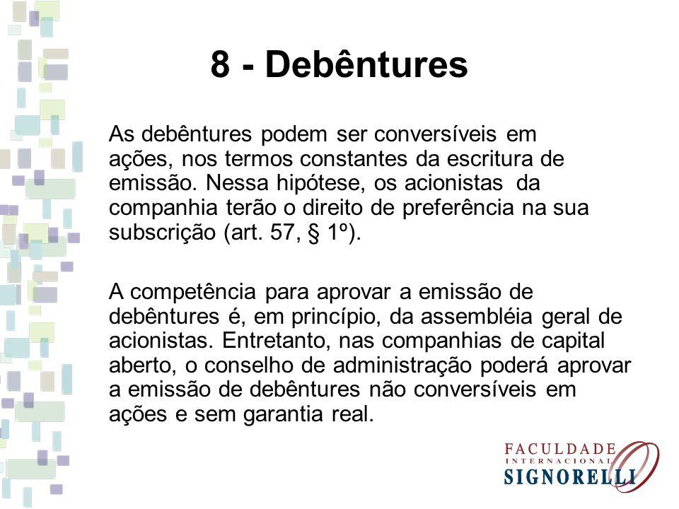 8 - Debêntures As debêntures podem ser conversíveis em ações, nos termos constantes da escritura de emissão. Nessa hipótese, os acionistas da companhi