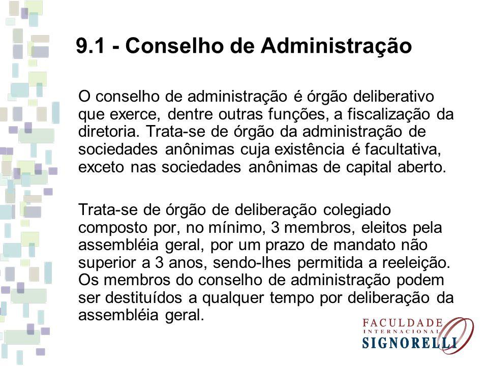 9.1 - Conselho de Administração O conselho de administração é órgão deliberativo que exerce, dentre outras funções, a fiscalização da diretoria. Trata