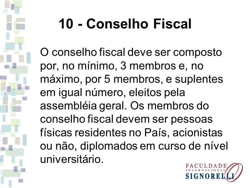 10 - Conselho Fiscal O conselho fiscal deve ser composto por, no mínimo, 3 membros e, no máximo, por 5 membros, e suplentes em igual número, eleitos p