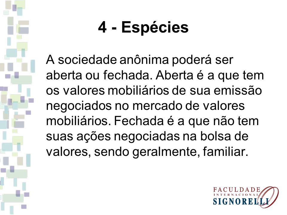 4 - Espécies A sociedade anônima poderá ser aberta ou fechada. Aberta é a que tem os valores mobiliários de sua emissão negociados no mercado de valor