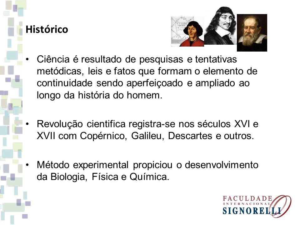 Histórico Ciência é resultado de pesquisas e tentativas metódicas, leis e fatos que formam o elemento de continuidade sendo aperfeiçoado e ampliado ao
