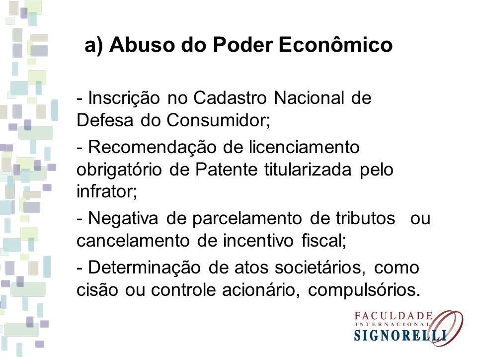 a) Abuso do Poder Econômico - Inscrição no Cadastro Nacional de Defesa do Consumidor; - Recomendação de licenciamento obrigatório de Patente titulariz