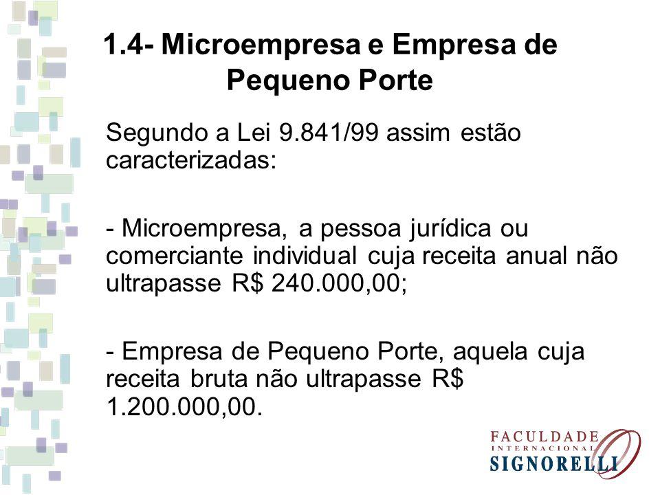 1.4- Microempresa e Empresa de Pequeno Porte Segundo a Lei 9.841/99 assim estão caracterizadas: - Microempresa, a pessoa jurídica ou comerciante indiv