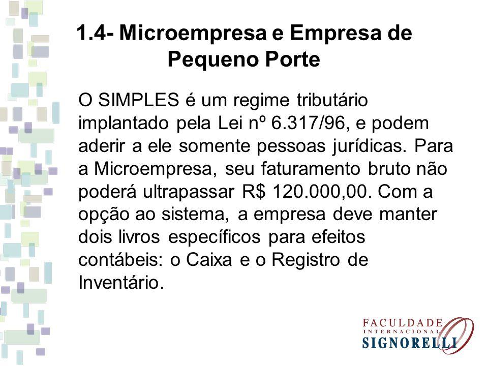 1.4- Microempresa e Empresa de Pequeno Porte O SIMPLES é um regime tributário implantado pela Lei nº 6.317/96, e podem aderir a ele somente pessoas ju