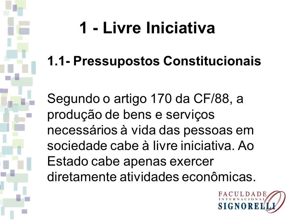 1 - Livre Iniciativa 1.1- Pressupostos Constitucionais Segundo o artigo 170 da CF/88, a produção de bens e serviços necessários à vida das pessoas em