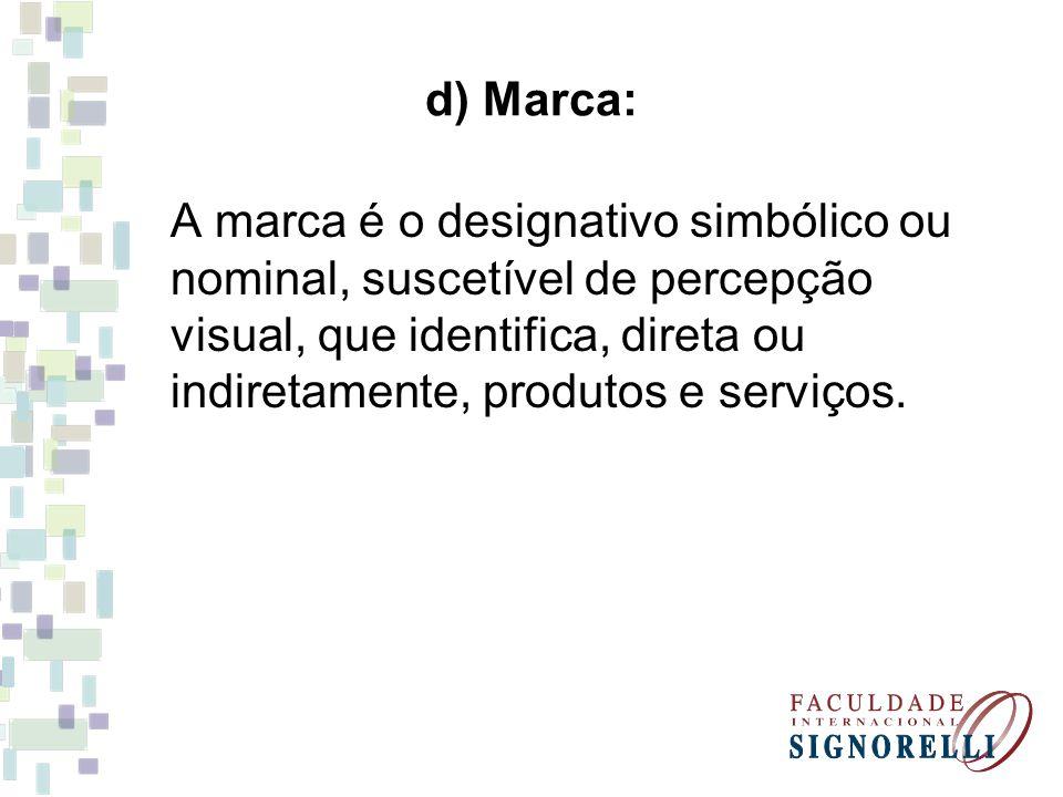 d) Marca: A marca é o designativo simbólico ou nominal, suscetível de percepção visual, que identifica, direta ou indiretamente, produtos e serviços.