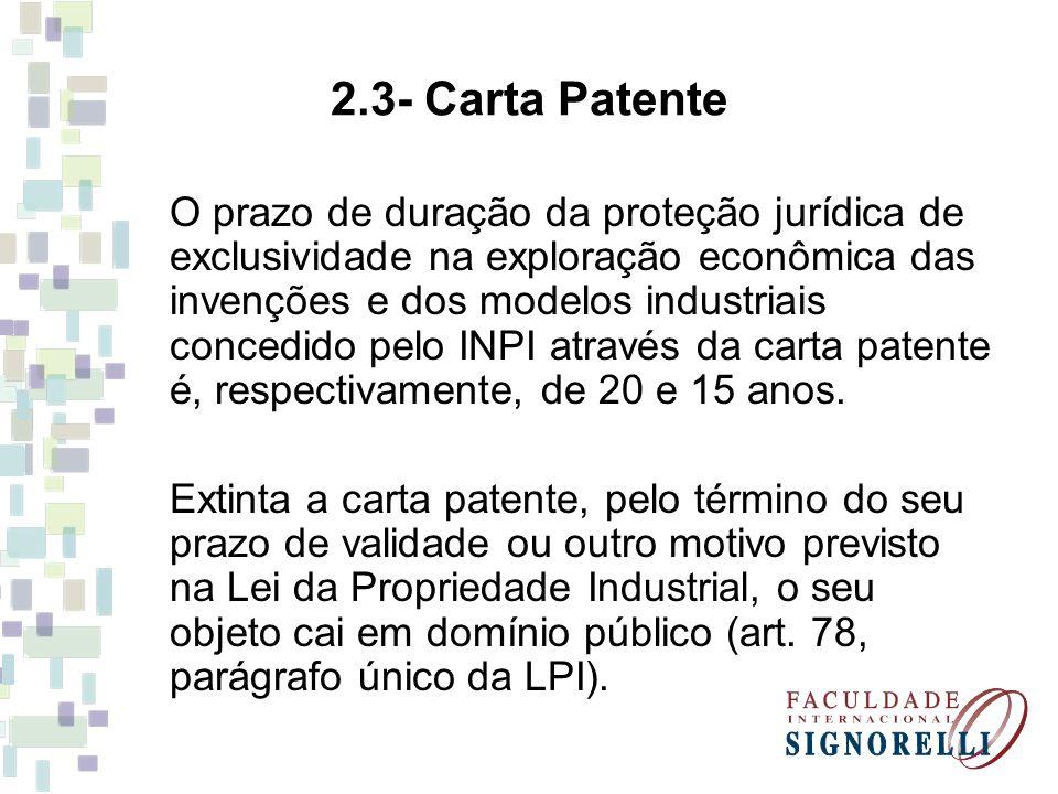 2.3- Carta Patente O prazo de duração da proteção jurídica de exclusividade na exploração econômica das invenções e dos modelos industriais concedido