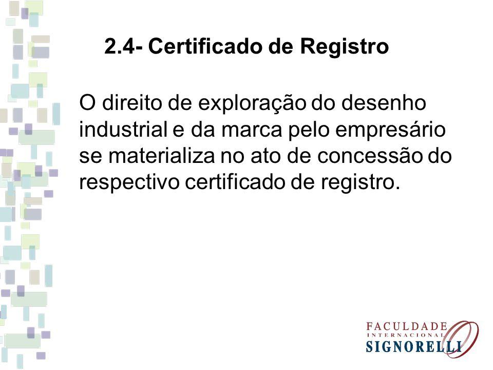 2.4- Certificado de Registro O direito de exploração do desenho industrial e da marca pelo empresário se materializa no ato de concessão do respectivo