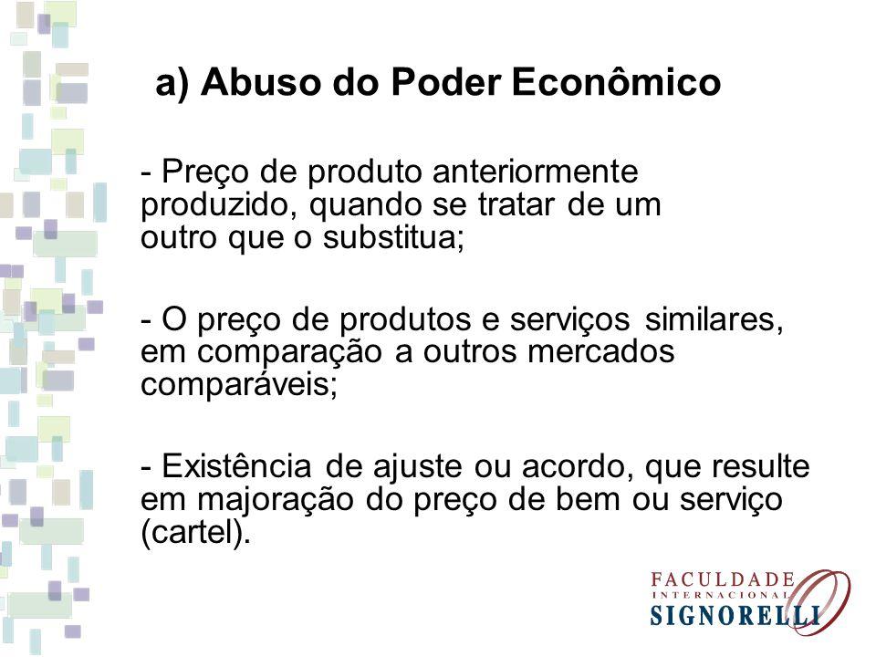 a) Abuso do Poder Econômico - Preço de produto anteriormente produzido, quando se tratar de um outro que o substitua; - O preço de produtos e serviços