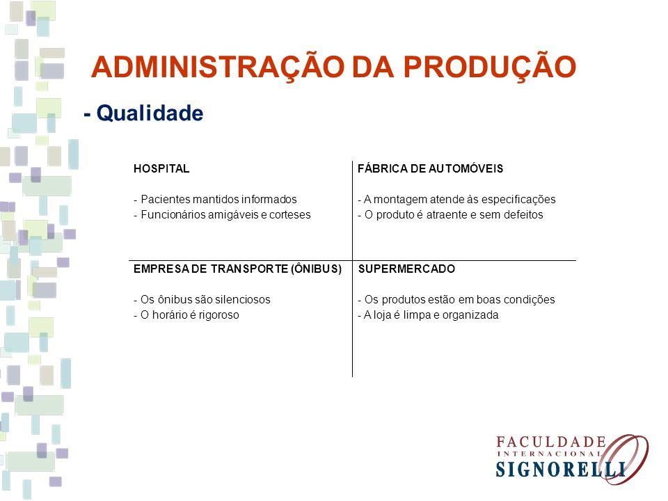 ADMINISTRAÇÃO DA PRODUÇÃO - Qualidade HOSPITAL - Pacientes mantidos informados - Funcionários amigáveis e corteses FÁBRICA DE AUTOMÓVEIS - A montagem