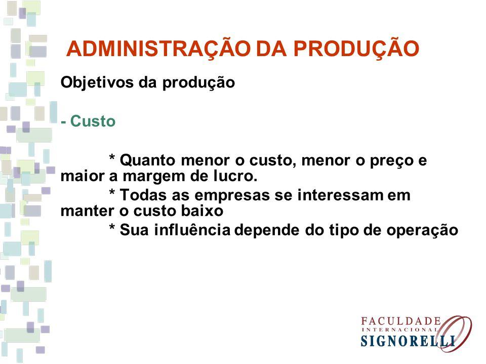 ADMINISTRAÇÃO DA PRODUÇÃO Objetivos da produção - Custo * Quanto menor o custo, menor o preço e maior a margem de lucro. * Todas as empresas se intere