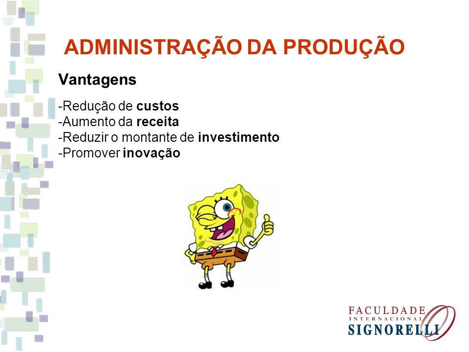 ADMINISTRAÇÃO DA PRODUÇÃO Vantagens -Redução de custos -Aumento da receita -Reduzir o montante de investimento -Promover inovação