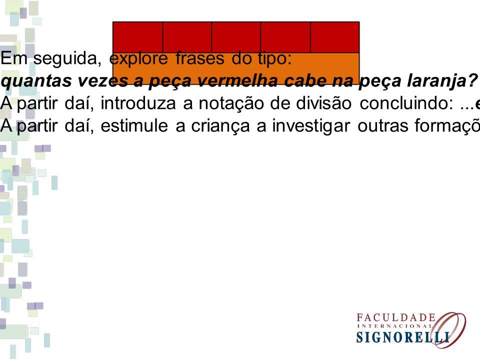 Em seguida, explore frases do tipo: quantas vezes a peça vermelha cabe na peça laranja? A partir daí, introduza a notação de divisão concluindo:...ent