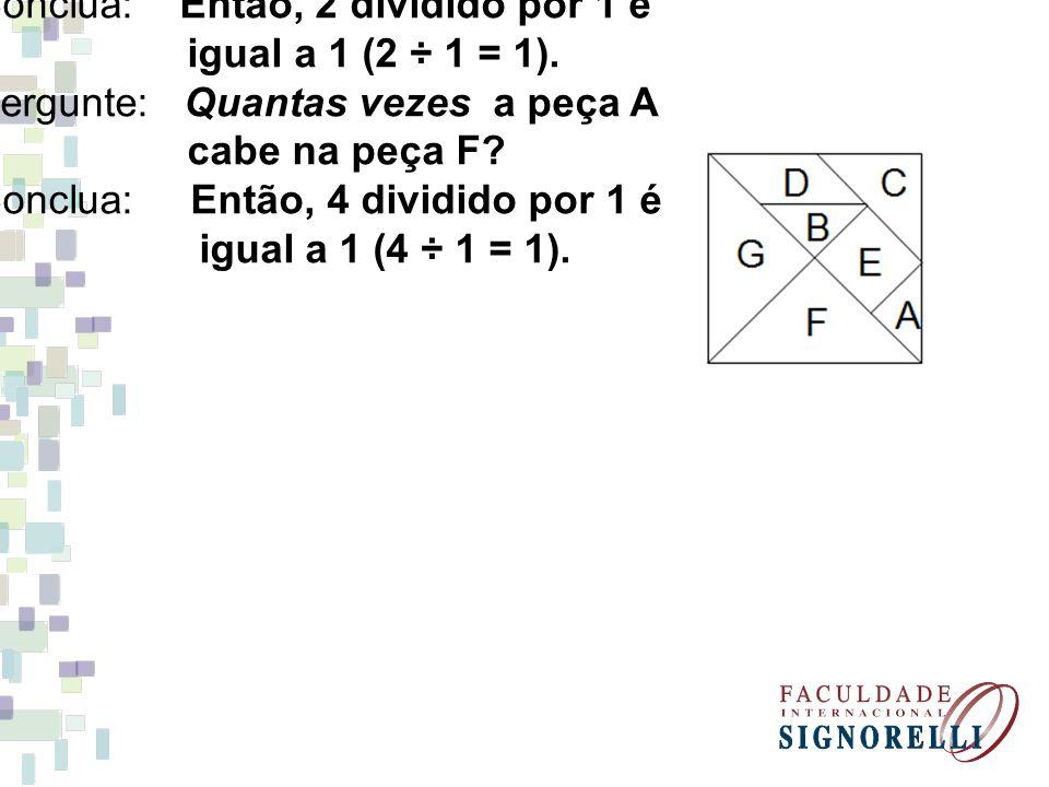 Pergunte: Quantas vezes a peça B cabe na peça E? Conclua: Então, 2 dividido por 1 é igual a 1 (2 ÷ 1 = 1). Pergunte: Quantas vezes a peça A cabe na pe