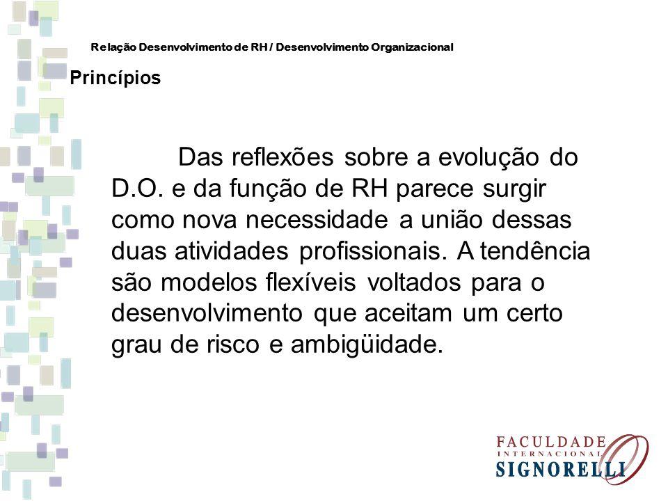 Das reflexões sobre a evolução do D.O. e da função de RH parece surgir como nova necessidade a união dessas duas atividades profissionais. A tendência