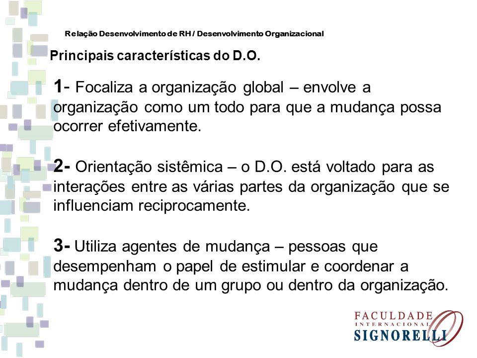 1- Focaliza a organização global – envolve a organização como um todo para que a mudança possa ocorrer efetivamente. 2- Orientação sistêmica – o D.O.
