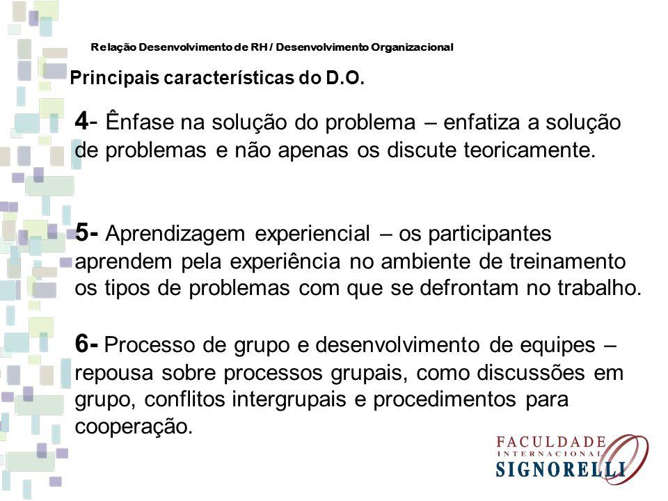 4- Ênfase na solução do problema – enfatiza a solução de problemas e não apenas os discute teoricamente. 5- Aprendizagem experiencial – os participant