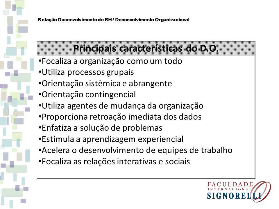 Relação Desenvolvimento de RH / Desenvolvimento Organizacional Principais características do D.O. Focaliza a organização como um todo Utiliza processo