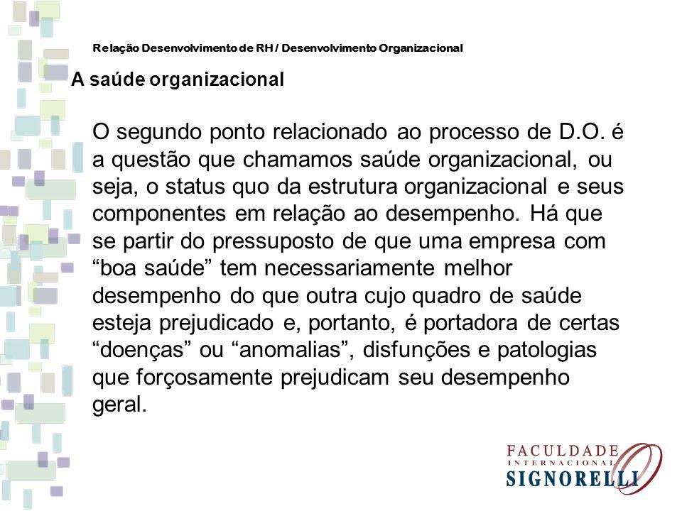 O segundo ponto relacionado ao processo de D.O. é a questão que chamamos saúde organizacional, ou seja, o status quo da estrutura organizacional e seu