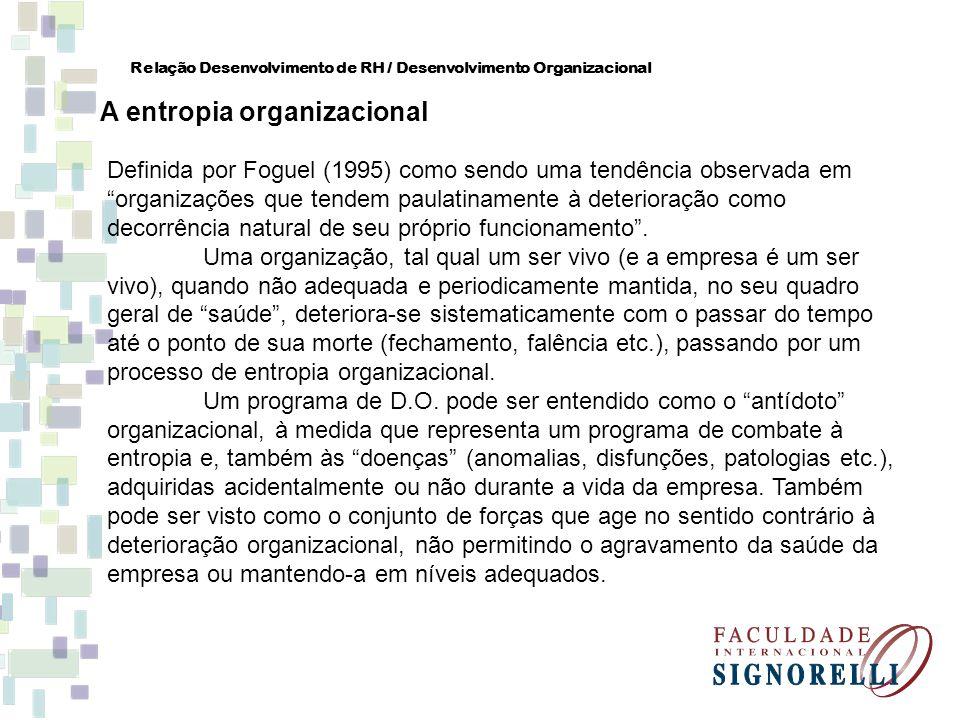 Relação Desenvolvimento de RH / Desenvolvimento Organizacional A entropia organizacional Definida por Foguel (1995) como sendo uma tendência observada
