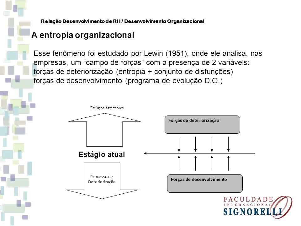 Relação Desenvolvimento de RH / Desenvolvimento Organizacional A entropia organizacional Esse fenômeno foi estudado por Lewin (1951), onde ele analisa
