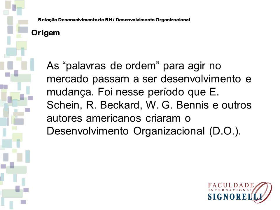 As palavras de ordem para agir no mercado passam a ser desenvolvimento e mudança. Foi nesse período que E. Schein, R. Beckard, W. G. Bennis e outros a