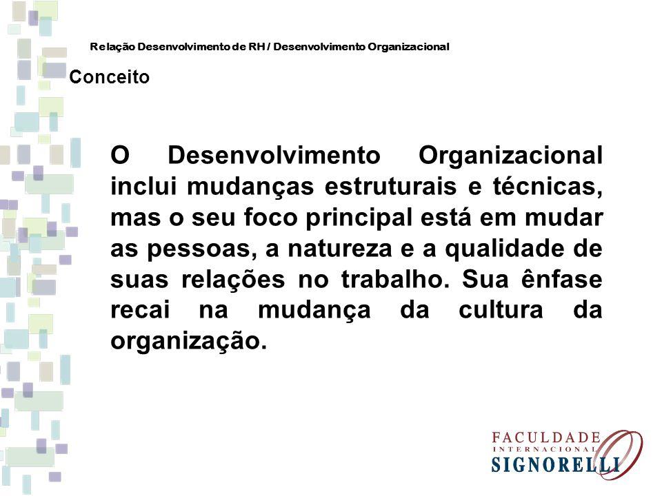O Desenvolvimento Organizacional inclui mudanças estruturais e técnicas, mas o seu foco principal está em mudar as pessoas, a natureza e a qualidade d