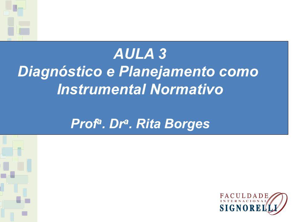 AULA 3 Diagnóstico e Planejamento como Instrumental Normativo Prof a. Dr a. Rita Borges