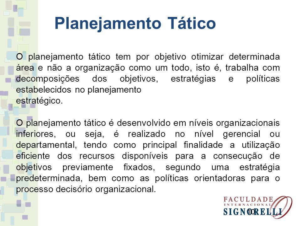 10 O planejamento tático tem por objetivo otimizar determinada área e não a organização como um todo, isto é, trabalha com decomposições dos objetivos