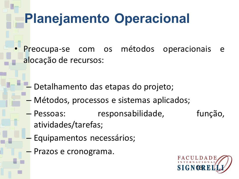 13 Planejamento Operacional Preocupa-se com os métodos operacionais e alocação de recursos: – Detalhamento das etapas do projeto; – Métodos, processos